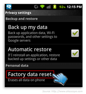 Reset your Android tablet to factory settings