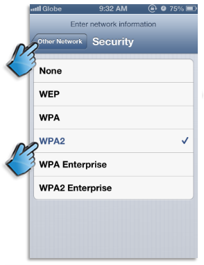 Wi-Fi Network Settings: Enter security informaltion