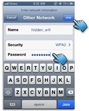 Wi-Fi Network Settings: Enter network informaltion